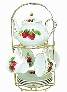 Green Pastures Wholesale Strawberry Porcelain Wide Shape Tea Set, by Strawberry Kitchen, Strawberry Tea, Strawberry Patch, Strawberry Fields, Strawberry Shortcake, Strawberry Pictures, Strawberry Decorations, Vintage Kitchen Decor, Teapots And Cups