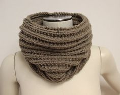 tan knitted wool cowl, cozy brown rib knit neck warmer, knitted infinity scarf