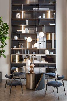 家具 on Behance Home Library Design, Home Interior Design, Interior Architecture, Interior Stylist, Bookcase Shelves, Shelving, Living Room Interior, Living Room Decor, Rack Design