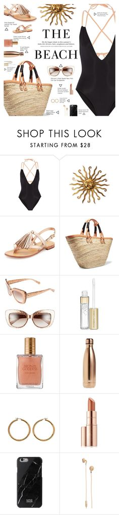 """Beach Bronze Goddess"" by r-maggie ❤ liked on Polyvore featuring Solid & Striped, Kate Spade, Balenciaga, H&M, Dolce&Gabbana, Estée Lauder, S'well, Vince Camuto, Native Union and Urbanears"
