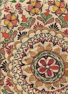 The kantha embroidery method has been used for hundreds of years in West Bengal. It's a simple running stitch technique that yields designs of great charm. Tiny stitches in vibrant colors may depict a traditional story, provide a pleasing design or even illustrate some element of modern life.