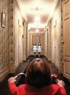 The Shining (1980) directed by Stanley Kubrick starring Jack Nicholson and Shelly Duvall, novel by Stephen King