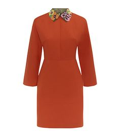 Valentino dress. Crepe Couture Leather Collar Tunic Dress in Carrot Orange available now at Harrods. Shop Valentino dresses online. Free Returns on UK orders.