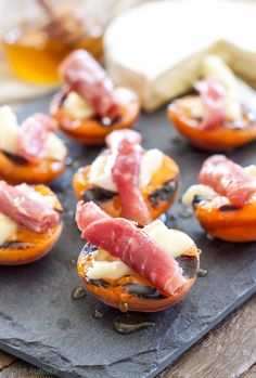 Grilled Apricots with Brie, Prosciutto and Honey.
