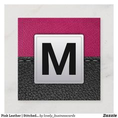 Pink Leather | Stitched Leather Square Business Card