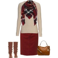 dark brown boots with maroon maxi skirt. Love the scarf and the sweater.