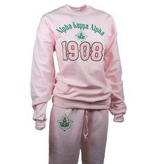 "Alpha Kappa Alpha ""AKA Sweat Suit Fleece Sweatshirt Top with Sweat Pants Sweatsuit Combo- Equvia Rhodes- Aka Sorority, Alpha Kappa Alpha Sorority, Sorority And Fraternity, Sorority Girls, Sorority Life, Alpha Kappa Alpha Paraphernalia, Sorority Outfits, Sorority Fashion, Disney Couture"
