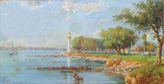 H.Ali Rıza-037 Original Paintings, Original Art, Oil Painting Flowers, Painting Techniques, Istanbul, Ali, Landscape, Color, Ships