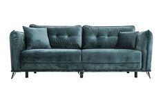 Räven sammetssoffa, grön, sammet, bäddsoffa, bädd, soffa, sammetskuddar, säng, möbler, vardagsrum, sovrum, inredning