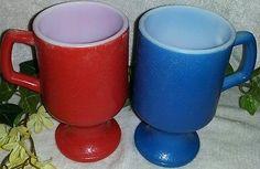 $16.96 or best offer Anchor Hocking Fire King Pedestal Mugs Vintage White Milk Glass Red Blue Cups