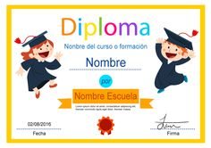 Diploma desenfadado, para otorgar un diploma de aprendizaje a niños o para…