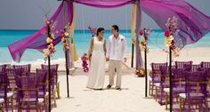Book your dream wedding at Le Blanc Spa Resort Cancun with Destination Weddings. Our expert planners will help make your dream wedding a reality. Cancun Resorts, Resort Spa, Wedding Canopy, Wedding Ceremony, Wedding Backdrops, Beach Ceremony, Design Ikea, Perfect Wedding, Purple Wedding