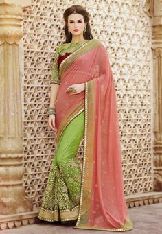 Peach and Neon Green Faux Georgette and Net Saree with Blouse
