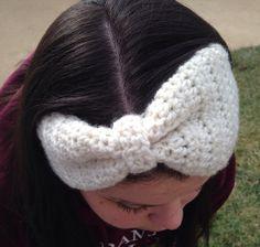Crochet Bow Headband Available in the shop! https://www.etsy.com/listing/176468297/crochet-bow-headband