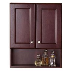 bathroom wall cabinets cherry allen roth rosemere 28 in h x 24 in w x 7 in d auburn wall 17100
