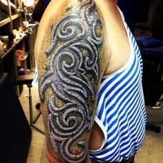 Incredible stone tribal by Pavel Angel http://activelifeessentials.com/body-canvas/ #bodyart #tattoos