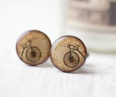 Pair of handmade cufflinks with a print of vintage bicycle. Made to order and shipped from Europe so it can take a few weeks. Unique whimsical design.Measurements:Disk diameter 2 cm/0.8