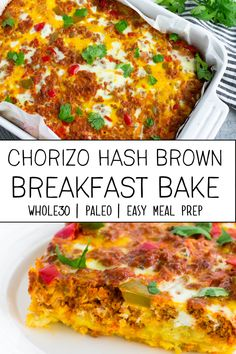 This easy recipe for chorizo hash brown bake is going to be your new favorite meal prep breakfast! It is full of flavor and made with ingredients that are paleo and compliant. # breakfast casserole with hashbrowns Chorizo Hash Brown Bake (Paleo & Recetas Whole30, Paleo Meal Prep, Easy Meal Prep, Easy Meals, Paleo Food, Paleo Diet, Food Prep, Paleo Breakfast Casserole, Breakfast Casserole