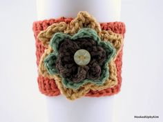 Crochet Coffee Cup Sleeve - Rust with Dark Mustard, Hunter Green and Brown Flower