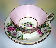 Pink White Flowers with Pink Border Paragon Tea Cup and Saucer Set | eBay
