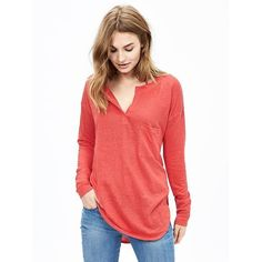 Banana Republic Womens Linen Pocket Henley Size XS - Dark coral ($45) ❤ liked on Polyvore featuring tops, coral top, henley tops, linen tops, red long sleeve top and red top