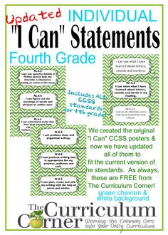 Individual I Can Statements for CCSS 4th Grade in Green Chevron FREE from The Curriculum Corner