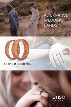 Copper and elements-infused silicone rings. Alternative wedding bands for active lifestyles and fashion-forward couples from Enso Rings.