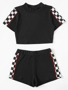 croptop deportivo Contrast Trim Gingham Panel Top With ShortsFor Women-romwe Pajama Outfits, Lazy Outfits, Cute Comfy Outfits, Crop Top Outfits, Teenage Outfits, Kids Outfits Girls, Sporty Outfits, Teen Fashion Outfits, Swag Outfits