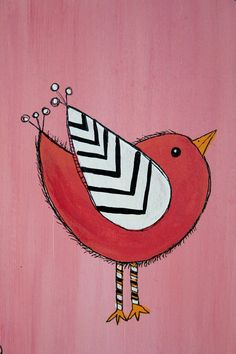 Original Bird Painting on adorable 9 x 7 inch wooden by melbean