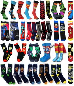 Marvel & District of Columbia Comics & Hosiery Clothing, Shoes & Accessories Black Batman, Batman Vs Superman, Batman Socks, Estilo Nerd, Marvel Wedding, Comic Book Wedding, Groomsmen Socks, Avengers Cartoon, Sexy Socks
