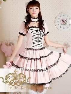 Looking for a gorgeous lolita dress? Check out this Pink Short Sleeves Front Tie Sweet Lolita Dress with amazing price today! Style Lolita, Lolita Mode, Gothic Lolita Dress, Lolita Cosplay, Lace Dress Black, Pink Dress, Pink Lace, Dress Lace, Steampunk