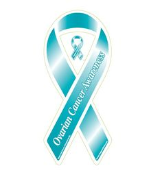 "Buy the ""Ovarian Cancer Awareness"" Teal Ribbon Car Magnet."