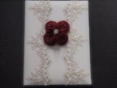 Memory Album Wedding Dark Red Ivory Lace by ArtisanFeltStudio on Etsy