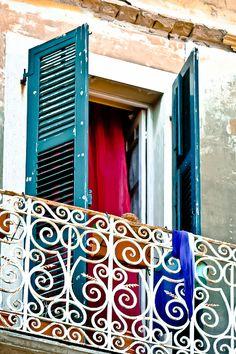 Corfu , Venetian style window in Corfu town Samos, Villas In Corfu, Corfu Island, Corfu Greece, Through The Window, Greece Travel, Greek Islands, Beautiful Islands, Around The Worlds