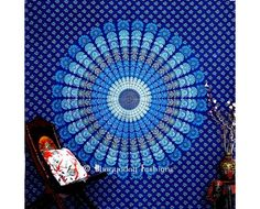 Buy online stylish blue bohemian indian mandala tapestry wall hanging with peacock design in different size, designs at wholesale price. Shop beautiful traditional cotton printed wall tapestries from India.