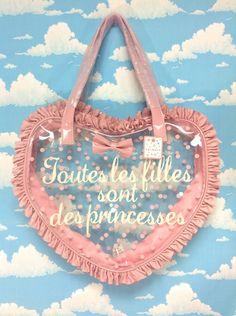 Frill Heart Shoulder- and Handbag in Pink from SWIMMER - Lolita Desu