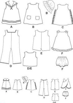 All size patterns: Free Printable Doll Clothes Patterns - Bing Images Sewing Doll Clothes, Baby Doll Clothes, Crochet Doll Clothes, Barbie Clothes, Crochet Dolls, American Girl Outfits, American Doll Clothes, American Girls, Doll Sewing Patterns