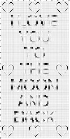 """I Love You to the Moon and Back"" Crochet Bobble Stitch Chart Bobble Stitch Crochet Blanket, Bobble Crochet, Crochet Squares, Baby Blanket Crochet, Free Crochet, Filet Crochet Charts, Crotchet, Crochet Stitches Patterns, Cross Stitch Patterns"