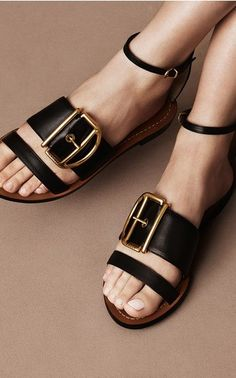 Bally Resort 2016 gold and black leather sandals