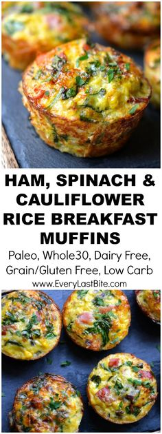 Ham, Spinach & Cauliflower Rice Breakfast Muffins (Paleo, These are a cross between a frittata and muffin thanks to Dairy Free Quiche Recipes, Dairy Free Breakfasts, Paleo Recipes, Cooking Recipes, Dairy Free Frittata, Sausage Recipes, Breakfast On The Go, Breakfast Muffins, Paleo Breakfast
