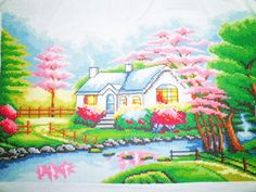New Completed Finished Cross Stitch The Wild Cabin Design Image Size:17*11inch