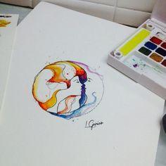 Arte feita para cliente • ☀️ • usei uma arte como inspiração mas não conheço o autor da obra se alguma conhecer favor marcar nos comentários #sol #lua #sun #moon #tattoo #tatuagem #lcjunior #watercolor #aquarela