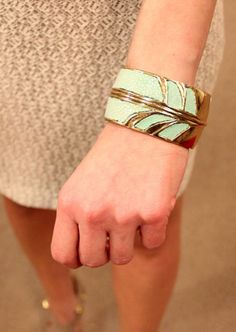 Gold and teal cuff by Kara Ross
