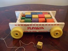Playskool Pull Wagon with Colored Blocks and Rods