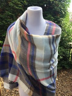 Blanket Scarf - Light Blue, Olive Green & Coral