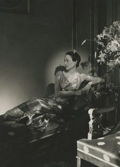 Horst P. Horst, Vogue, December 1937 - The Duchess of Windsor, wearing a lam gown reclining on a chaise