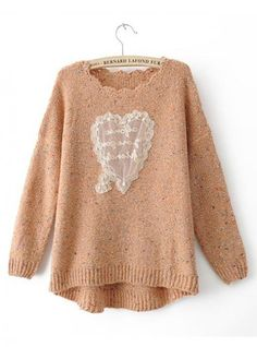 Sweet Heart Bat Sleeve  Pink Sweater$45.00