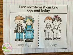 Long ago and today sort.  An interactive notebook freebie.