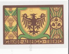 Luggage Label Grande Albergo Trento Signed Fortunato Depero Futurismo