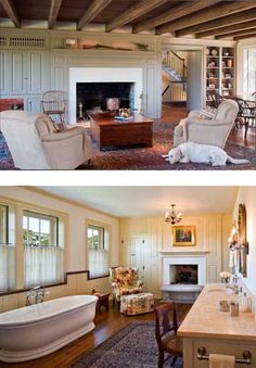 Lovely living area and THAT is a great bathroom!!!....John Milner Architects, Inc - New Country Estate